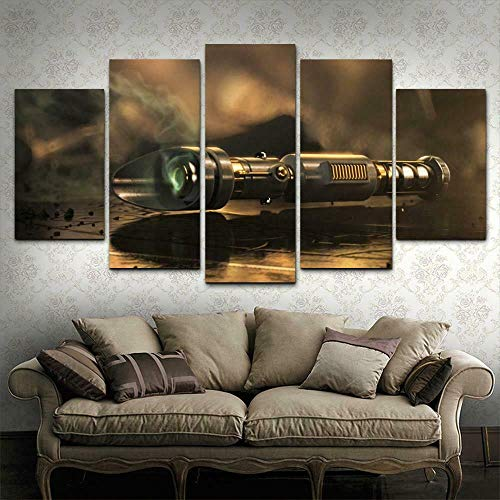 XIAYF Star Wars Movies 5 Piezas Cuadro en Lienzo Modernos Material no Tejido, Lienzo ArtíSticas Hd PóSter, Modernos Decoración Hogar Dormitorios Sala de Estar (150x80cm Marco)