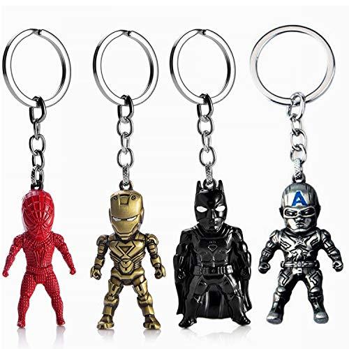 JLZK 4pcs Avengers Endgame Super héros Porte-clé avec Ironman Spiderman Captain America Batman Action Figure Porte-clé pour Les Fans de Marvel