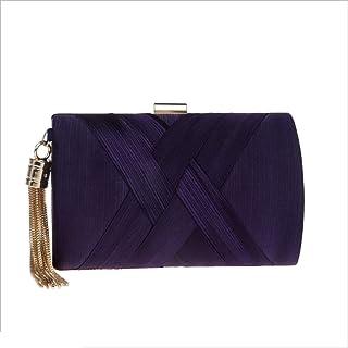 DIEBELLAU Ladies Fringed Dinner Bag Silk Banquet Evening Dress Bag Clutch Bag (Color : Purple, Size : XS)