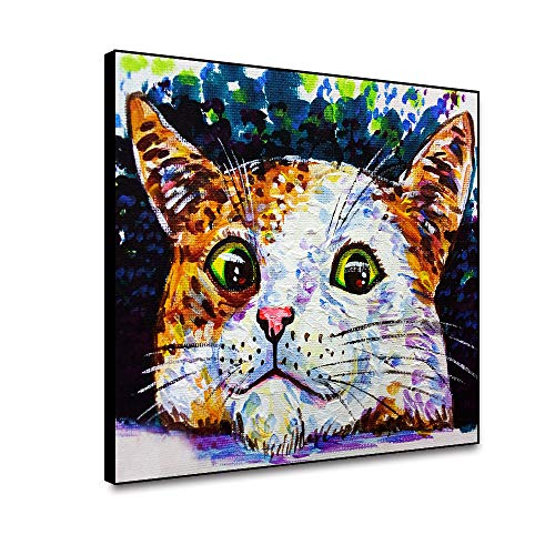N / A Watercolor Painting Cute Cat Cat Avatar Poster Print Canvas Painting Picture Decoration Home Wall Art Decoration Frameless 70x56cm