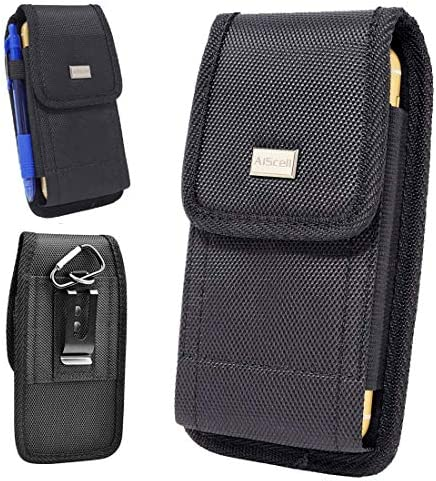 AISCELL Rugged Black Canvas Nylon Pouch Carrying Case Metal Belt Clip Holster w Carabiner for product image