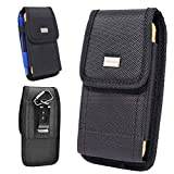 AIScell Metal Belt Clip Holster ,Rugged Black Nylon Canvas Pouch Carrying Case, for K22, K22+ ,Stylo 5 , 5v , 5+ , Stylo 2 V ,Stylo 3 Plus ,Stylo 4 ,Stylo 4 Plus, Q70, with Hybrid Protective Cover on