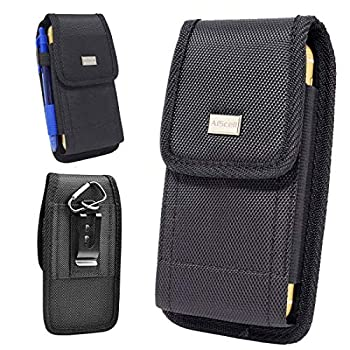 AIScell Tactical Holster for Galaxy S21+ S21 A71 ,Note 10+  A51 ,S20+ A11 Note20 Ultra Note20 Rugged Nylon Pouch Case Metal Clip with Cloth,Fits Phone with Slim Cover on