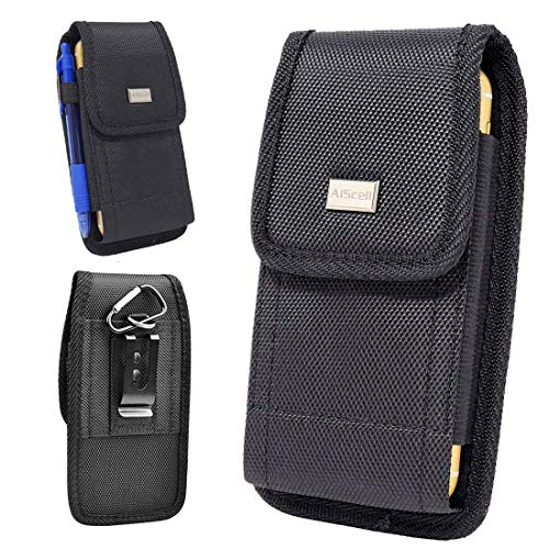 AIScell Universal Metal Belt Clip Hip Holster Pouch Case for Kyocera Brigadier, Ultra Rugged Black Canvas Nylon Pouch Waist Carrying Case with Carabiner Hook Can Be Used Vertically or Horizontally
