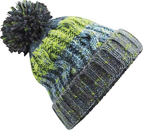 Neverless® Strickmütze Herren Grobstrick Bunt Bommel Bunt Winter-Mütze grün Unisize
