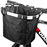 Bike Basket, Foldable Small Pet Cat Dog Carrier Front Removable Bicycle Handlebar Basket