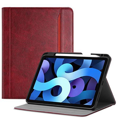 ProCase Leder Hulle mit Stifthalter fur iPad Air 4 109 Zoll 2020 Unterstutzt das Laden von Pencil 2 mit Kartenfach Multi Blickwinkel Premium Lederhulle PU Folio Stander Case Cover Rot