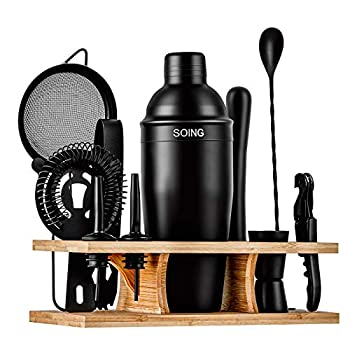 Soing 11-Piece Black Bartender Kit,Perfect Home Cocktail Shaker Set for Drink Mixing,Stainless Steel Bar Tools with Stand,Velvet Carry Bag & Cocktail Recipes Cards  Black
