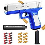 Toy Gun with Soft Bullets,Toy Guns That Look Real,Toy Pistol with Silencer, 1: 1 Real Dimensions Shell Ejecting Toy Gun. (Blue)