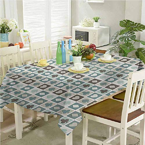 homecoco Decorative Print Tablecloth Card Suits Hearts Spades Diamonds and Clubs Pattern Gaming Houses Addiction Print 60'x120' Modern Rectangle Tablecloth