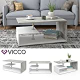 Vicco Coffee Table Guillermo Living Room Table White Concrete 91x52 Couch Table Side Table - 2