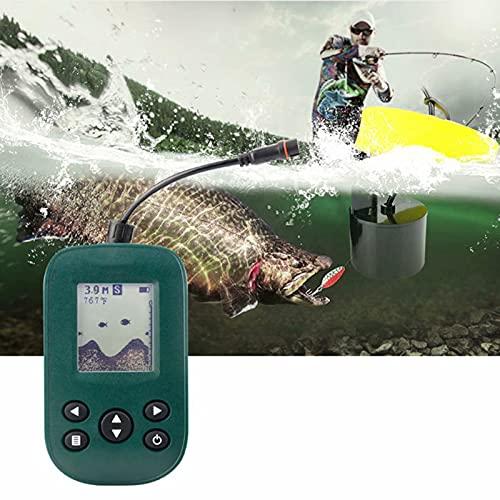 Buscador de Peces de sonda portátil - Buscador de Pesca inalámbrico de Mano Transductor de Kayak con Pantalla LCD Sensor de sonda Marino Impermeable Buscador de Peces de Profundidad de Barco