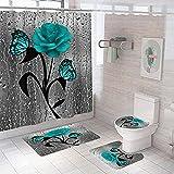 Badezimmer Teppich Duschvorhang vierteilige Graublauer Rosenblütenschmetterling Toilette Badewanne Anti-Rutsch Wasserdicht Polyester Duschvorhang Bodenmatte Set180 × 180 cm