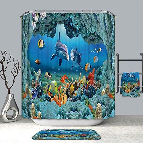 RTYRT 180x200CM 3D Bunte Unterwasser Welt Duschvorhänge Dolphin Starfish wasserdichte Mehltau Badevorhänge für Badezimmer 6