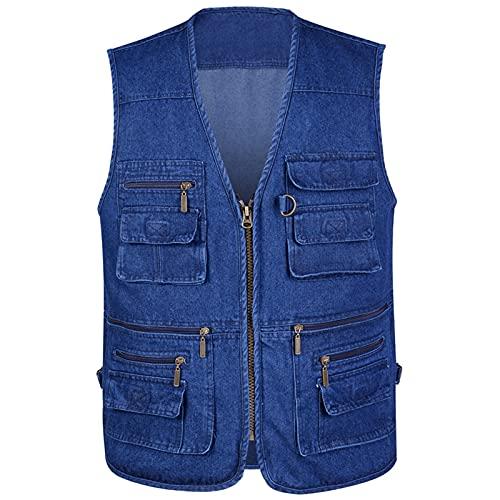 GAOHONGMEI Chaleco de mezclilla de los hombres de mediana edad con 16 bolsillos más tamaño chaleco casual senderismo reporteros fotografía sin mangas chaquetas denim azul-2XL