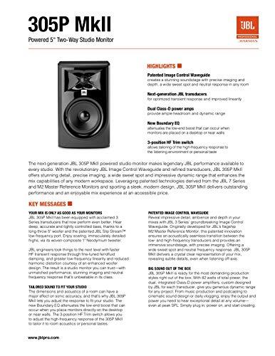 "JBL Professional 305P MkII Next-Generation 5"" 2-Way Powered Studio Monitor (305PMKII)"