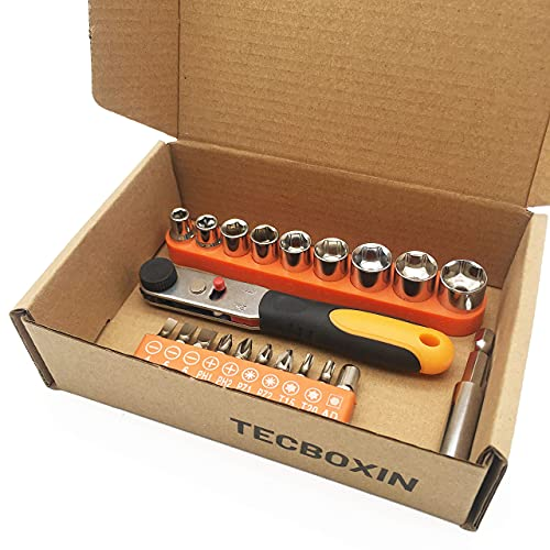 TECBOXIN Mini Ratcheting Wrenches Pocket Screwdriver Set, Right Angle Drill Adapter High Torque with S2 Bit Set Sleeve,Hexagon and 1/4