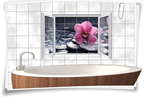 Fliesenaufkleber Fliesenbild Fliesen Aufkleber Sticker Wellness SPA Blüte Orchidee Steine Bad WC, 75x50cm, 15x15cm (BxH)