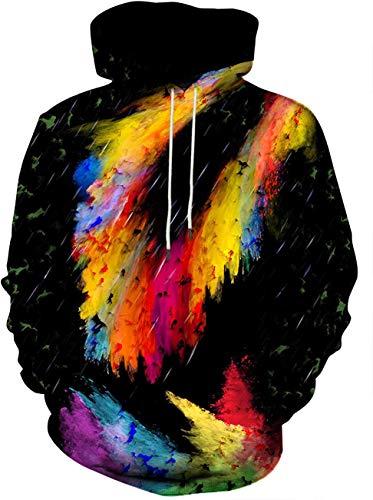MJDSVWCS Unisex Graphic Hoodies 3D Cooles Design Print Buntes Kapuzenpullover für Männer und Frauen Hoodie Color Ring L