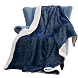 WILL green Shiny Sherpa Blanket, with Silver Foil, 50 x 60 Flannel Throw Blanket, Worm & Cozy Blanket for Couch or Bed Throws, for Family, Navy
