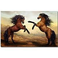 キャンバス塗装 ぶら下げ画 二つの馬油キャンバスベッドルームの家の装飾なしフレーム用のポスターアートプリント絵画カップルアニマルウォール絵画 (Size (Inch) : 40x60cm)