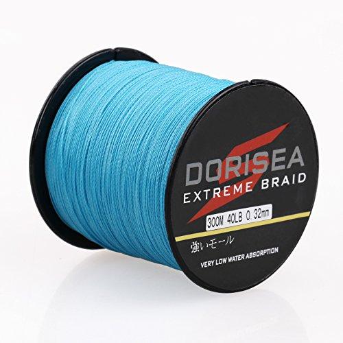 Dorisea Extreme Braid 100% Pe intrecciato filo da pesca 300 m/328 iarde Prova 2,7-136,1 kg (blu, 27,2 kg/0,40 mm)
