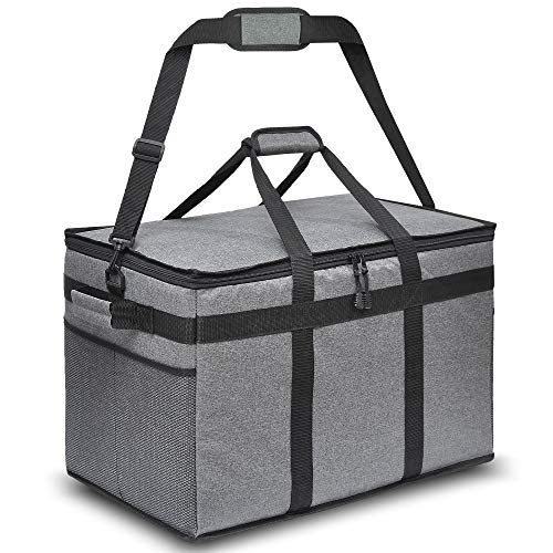 """The HOT Box Insulated Food Delivery Bag - Premium Quality Bag for Hot and Cold Food for Uber Eats DoorDash Instacart Postmates Groceries Restaurants - XXL Sized Excellent for Catering - 23""""x14""""x15"""""""