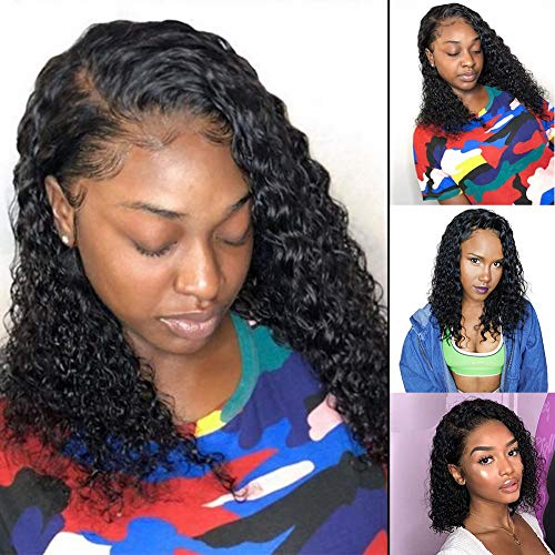 13x6 Short Curly Brazilian Lace Front Human Hair Wigs With Baby Hair Lace Front Wig Remy Hair Wig Pre Plucked Bleached Knots 150% Density (12inch)