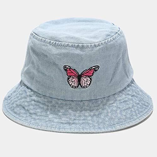 ZHENQIUFA Sombrero Pescador Gorras Hombres Mujeres Mariposa Imprimir Bordado Sombrero De Pescador Sombrero para El Sol Gorras Gorra De Cubo Sombreros De Cubo Sombrero De Vaquero-Light_Blue