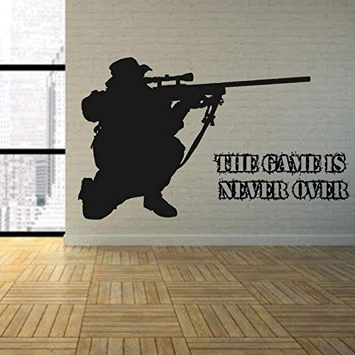 Wall Stickers Stickers Game Over Bedroom Army Sniper Rifle Wall Art Vinyl Decal Room Graphic Transfer Decor Boy Decals Sticker 80X48Cm