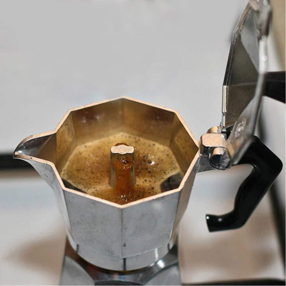 Cafetera italiana con mango de silicona resistente al calor: Amazon.es: Hogar