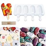 Supercat Molde de Helado de Silicona Pop Ice Lolly Mould Maker Frozen Dessert Popsicle Tray Home Kitchen Herramientas Pan + 10 unids Palos de Madera