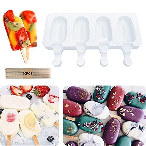 Silicone Moule À Crème Glacée Pop Ice Lolly Moule Maker Dessert Congelé Popsicle Plateau Maison Cuisine Outils Pan + 10 pcs Bâtons En Bois (Petit)