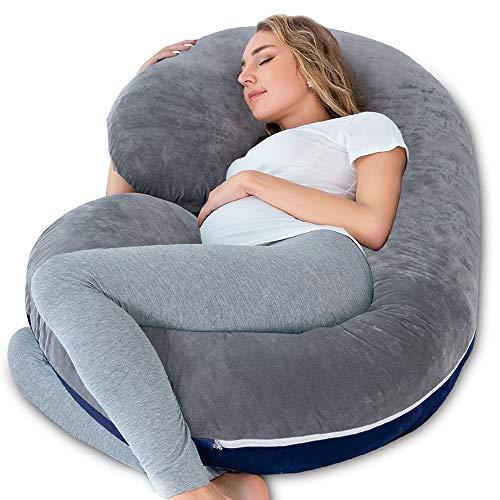 NiDream C-förmiges Schwangerschaftskissen & Lagerungskissen mit Jerseybezug (Plüsch grau & blau)