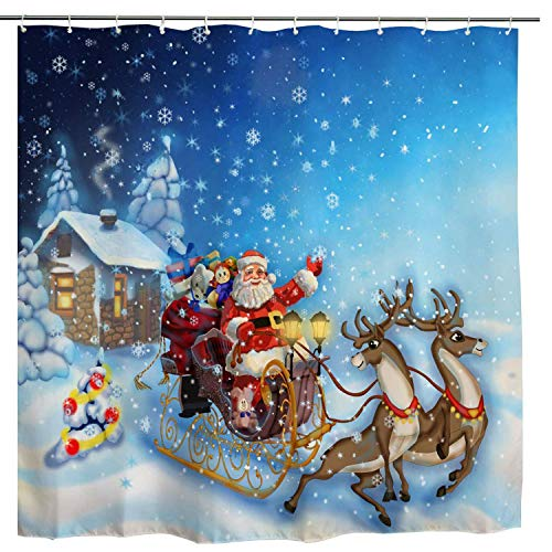 BROSHAN Christmas Shower Curtain Santa and Reindeer, Xmas Deer with Sleigh Cabin Snowy Winter Holiday Bath Curtain, Christmas Natural Fabric Bathroom Accessories with Hooks,72 x 72 Inch