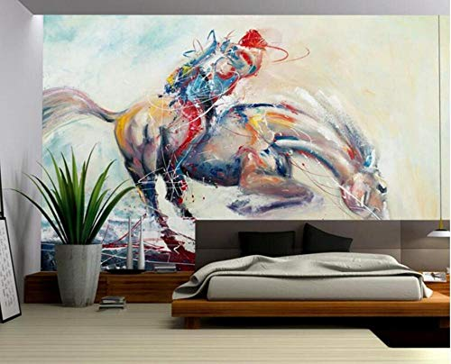 Pferd Tapete Vintage Europäischen Reitsport Öl Wanddekor Gemälde Tapeten Jungen Zimmer Tapete @ 400 * 280 cm