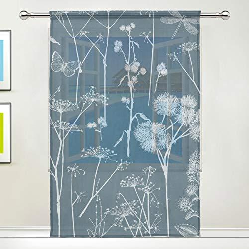 TIZORAX Vorhang Schmetterling Libelle Pusteblume Sheer Gardine Voile Vorhang für Küche, Wohnzimmer oder Kinderzimmer, 139,7 cm B x 19,8 cm L, 1 Panel, Polyester, Multi, 55
