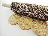 Nudelholz PAISLEY für hausgemachtes Gebäck. Teigrolle mit Blumen. Gravierte Nudelholz. Gravierte Teigroller mit Muster. Engraved rolling pin