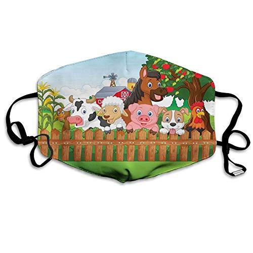 Mundabdeckung Cartoon, Zusammensetzung Nutztiere auf Zaun Comic Maskottchen mit Hund Kuh Pferd Pferd Design, Braun Grün