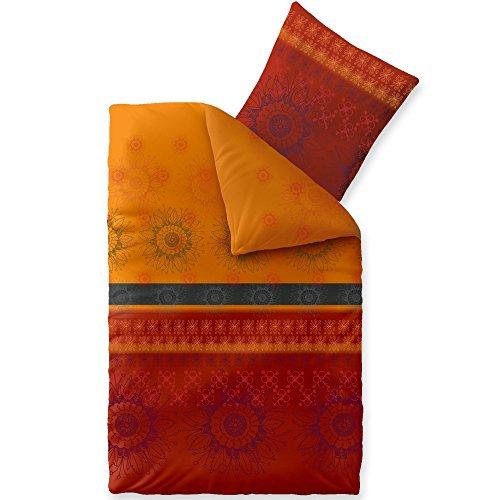 CelinaTex Fashion Bettwäsche 155x220 cm 2teilig Baumwolle Legra Blumen Rot Orange Grau