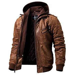 FLAVOR メンズ本革レザージャケット ライダースジャケット豚革 取り外し可能なフード付き (M, ブラウン)