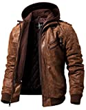 FLAVOR Men Brown Leather Motorcycle Jacket with Removable Hood - brown - S