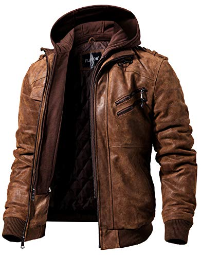 FLAVOR Men Brown Leather Motorcycle Jacket with Removable Hood (Large (US Standard), Brown)