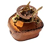 MAH Captain's Brass Sundial Compass Marine Compass Nautical Vintage Antique Style & Adjustable Screw Legs with Leather Box. C-3037