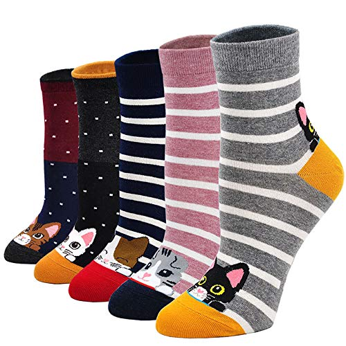 LOFIR Lustige Bunte Socken Damen Tier Muster Niedlich Socken aus Baumwolle Süß Karikatur Kawaii Katze Socken Neuheit Socken Geschenk für Mädchen Damen, Größe 35-41, 5 Paare