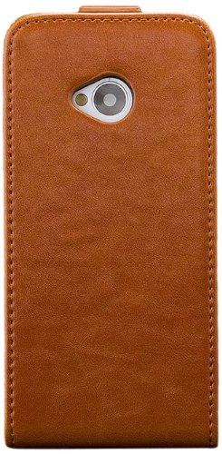 iCues HTC One M7 |  Klapp Tasche Braun | [Display Schutzfolie Inklusive] Leder - Imitat Book Klapphülle Schutz Etui Handytasche zum aufklappen Flip Case Schutzhülle Booklet Hülle Wallet