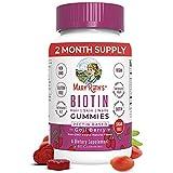 Vegan Biotin Gummy Vitamins for Hair Skin Nails by MaryRuth's | 2 Month Supply | Sugar Free 2500mcg Biotin Supplement + Vitamin B9 Methyl B12 Zinc | Non-GMO Made w/ Organic Ingredients Pectin Based