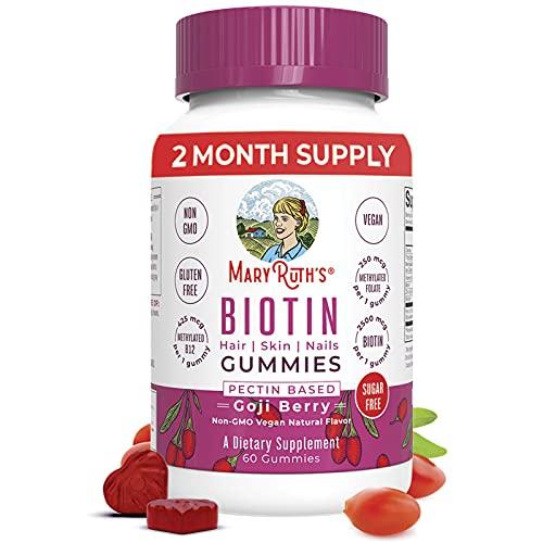 Vegan Biotin Gummy Vitamins for Hair Skin Nails by MaryRuth's   2 Month Supply   Sugar Free 2500mcg Biotin Supplement + Vitamin B9 Methyl B12 Zinc   Non-GMO Made w/ Organic Ingredients Pectin Based
