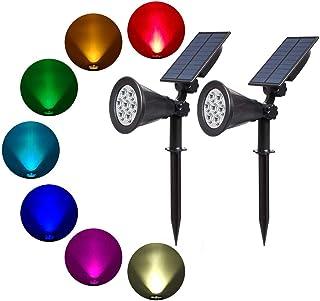 T-SUN Outdoor Solar Lights, 7 LED Color-Changing Solar Garden lights, 2-in-1 Multi Use Solar Spotlights, Auto-on At Night/...