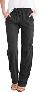 Howely Men Expandable-Waist Drawstring Casual with Pockets Lounge Trousers